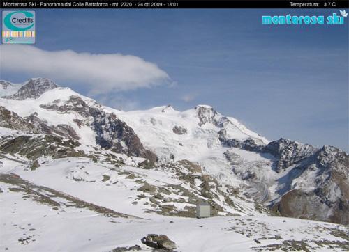 Ancora poca la neve in quota sul Monterosa