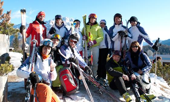 tutti pronti per una fantastica giornata di sci con Isolde Kostner