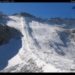 Via i teli dal Ghiacciaio Presena, salvati quasi 2 metri di neve