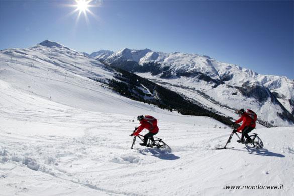 Andare in bicicletta sulla Neve