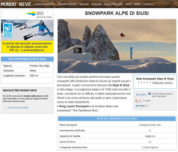 alpe di siusi snowpark screen