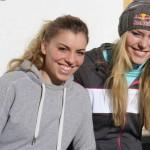 Lindsey Vonn in allenamento sulle piste della Ski Area Passo San Pellegrino