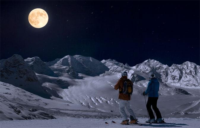 sciare luna piena