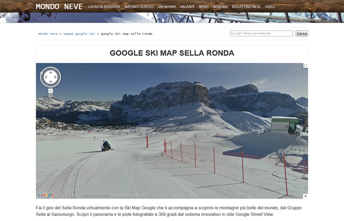 MondoNeve.it integra le mappe di Google Ski View