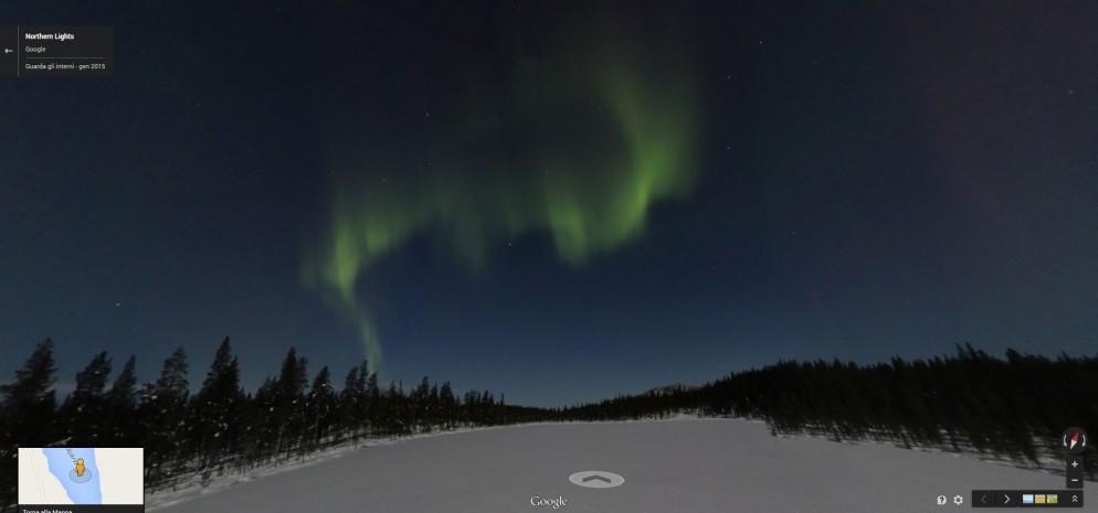 Finlandia: l'Aurora Boreale vista da Google Street View