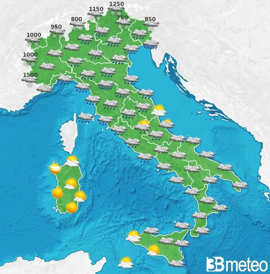 Previsioni meteo per il 3 gennaio - formulate in data 23/12/15 da 3Bmeteo