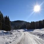 strada di campolongo innevata
