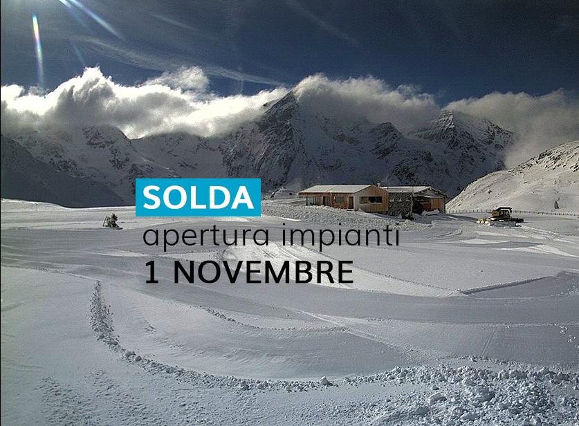 Solda, impianti aperti dal 1 novembre